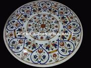 Round Marble Coffee Dining Table Top Floral Inlay Mosaic Art Hallway Decor H4500