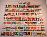 1950's Nabisco Cereal Premium Tin Pin Flags International Countries Lot Of 73