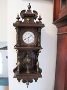 Antique 19 Century Abandc Wooden Wall Clock. Time Only.many Fancy Brass Decoration