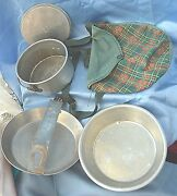 Vintage Girl Scout Camping Metal Mess Kit In Cloth Pouch With Girl Scout Patch