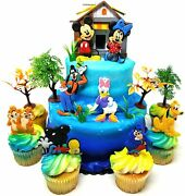 Mickey Mouse Clubhouse Birthday Cake Topper Set With Mickey And Minnie Mouse