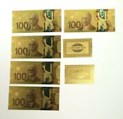 24kt Gold Plated 100 Bill/ Banknote Canada 5 Total With Certificate