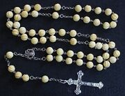 Vintage Catholic Rosary Carved Baltic Amber And Sterling In Leather And Sterling Box