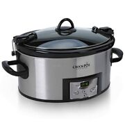Stainless Steel 6 Quart Cook And Carry Programmable Slow Cooker With Digital Timer