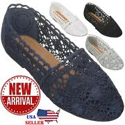 [new] Cloverlay Womenandrsquos Lace Flat Floral Breathable Crochet Lace Ballet Flats