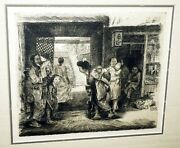 1920s Hawaii Etching Print Chinatown By Horatio Nelson Poole 1884-1949cwo
