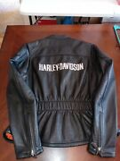 ⭐gorgeous Genuine Harley Davidson Leather Motorcycle Jacket Bar And Shield Small