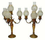 Pair Of Lamps Candlesticks Table With Four Lights Deco Years 60 Vintage