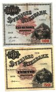 Sweden 50 And 100 Kronor 1958 P 44 B And P 45 B 2 Circulated Currency Banknotes