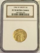 1986-w Liberty 5 Gold Commemorative Graded By Ngc As Pf-70 Ultra Cameo