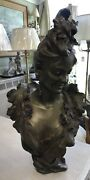 Large Heavy Bronze Bust Of Woman Signed By Artist Circa 1890