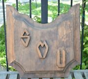 Large Vintage Smu Carved Wood Fraternity College University Plaque Dallas Texas