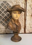 Vintage French Chalkware Boy Bust Soldier Plaster War Young Man Statue Figure