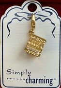 Vintage Gold Plated Cash Register Charm With Rhinestones By Simply Charming New