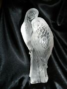 Vintage Lalique Two Parakeets Bird Crystal Glass Figurine Signed Made In France