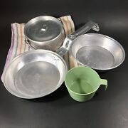 Vintage 1970's Boy Scout/girl Scout Cooking Mess Kit For Camping 4 Piece W/ Bag