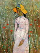 111958 Vincent Van Gogh Young Girl Standing Against Decor Laminated Poster Us