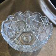 Antique American Brilliant Period Abp Large Clear Cut Glass Punch Bowl