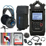 Zoom H4n Pro Portable Recorder Black+ Zoom Case+ Accessory Pack + Pro Headphones