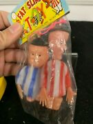 Rare Vintage Fat And Slim Laurel And Hardy Toy Figures Nos Mip Dime Store