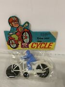 Vintage Cycle And Rider Dime Store Toy Still In Bag Card Motorcycle Gas Oil Soda