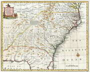 116212 Map Antique 1747 Bowen South East United States Laminated Poster Us