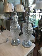 Pair Of Old Cut Crystal Waterford Table Lamps