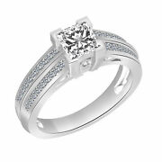 Simulated Diamond Solitaire With Accents Wedding Ring 14k Solid White Gold