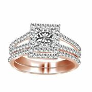1.00ct Square Princess Cut Diamond Halo Engagement And Band Ring In 14k Rose Gold