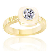 Round Simulated Diamond Vintage Solitaire Wedding Ring 14k Yellow Gold