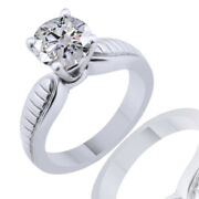 Round Simulated Diamond Solitaire Vintage Engagement Ring 18k White Gold