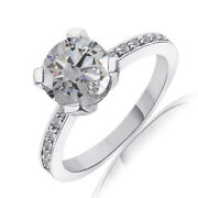 Brilliant Simulated Round Cut Diamond Solitaire Wedding Band Ring 14k White Gold