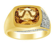 Citrine Solitaire With Accent Engagement Ring 14k Yellow Gold