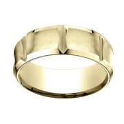 18k Yellow Gold 8mm Comfort Fit Edge Concave W/ Horizontal Cuts Band Ring Sz 5