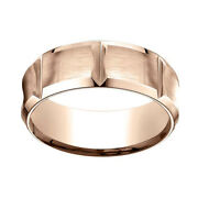 14k Rose Gold 8mm Comfort Fit Edge Concave W/ Horizontal Cuts Band Ring Sz 7