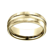 18k Yellow Gold 7.5mm Comfort Fit High Polish Center Cut Carved Band Ring Sz 7