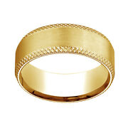 18k Yellow Gold 8mm Comfort Fit Cross Hatched Beveled Edge Band Ring Sz 8