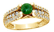 1 Ct Round Cut Green Real Diamond Shank Fancy Engagement Ring In 14k Yellow Gold