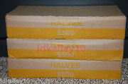 One Unsearched Half Dollar Box 50 Rolls 500 Face Value Bank Wrapped Rolls