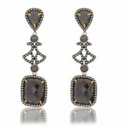 13.13 Ct Black Rough And Brown Diamond 18k Gold And Sterling Dangle Earrings