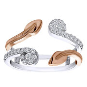 0.41 Ct D/vvs1 Two Stone Leaf Ring Guard Enhancer Set In 14k Two Tone Gold