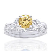4 Ct Golden Genuine Moissanite Sterling Silver Solitaire Engagement Ring Bridal