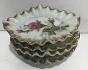 4 Victorian Porcelain Individual Small Butter Trinket Dish Ashtray Roses Gold