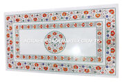 White Marble Dining Table Top Hakik Stone Inlay Marquetry Furniture Decor H2906