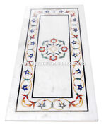 White Marble Dining Center Table Top Rare Gems Mosaic Inlay Garden Arts H2472