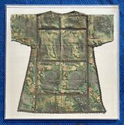 18th Century European Silk Dalmatic Chasuble Vestment Flower Embroidery Framed