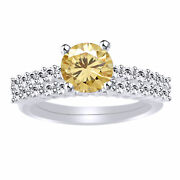 6 Ct Round Golden Moissanite Engagement Bridal Set Ring In Sterling Silver