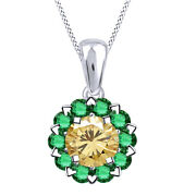 3.5 Ct Golden Moissanite And Emerald Sterling Silver Halo Pendant Necklace