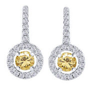 5.25 Ct Round Golden Moissanite Sterling Silver Lever Back Halo Drop Earrings