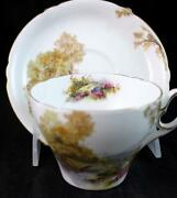 Shelley Heather Footed Cup And Saucer O187 Great Condition